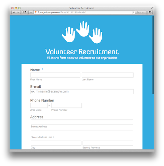volunteer application forms templates