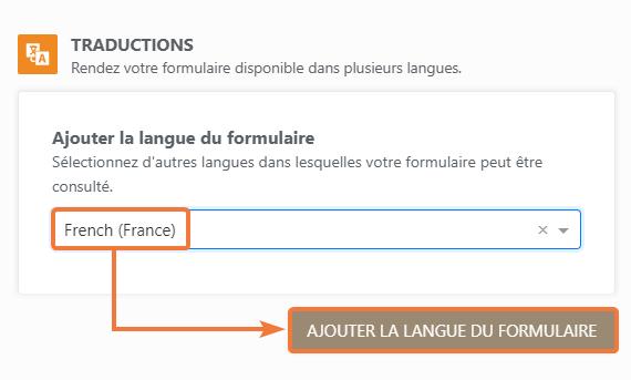 Add Form Language button
