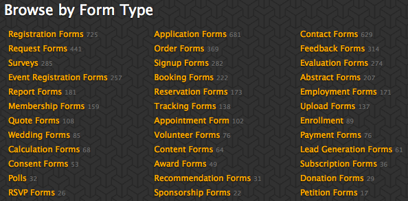 Form Templates by Form Type