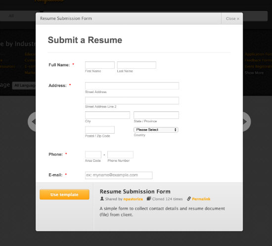 Submit Resume Template
