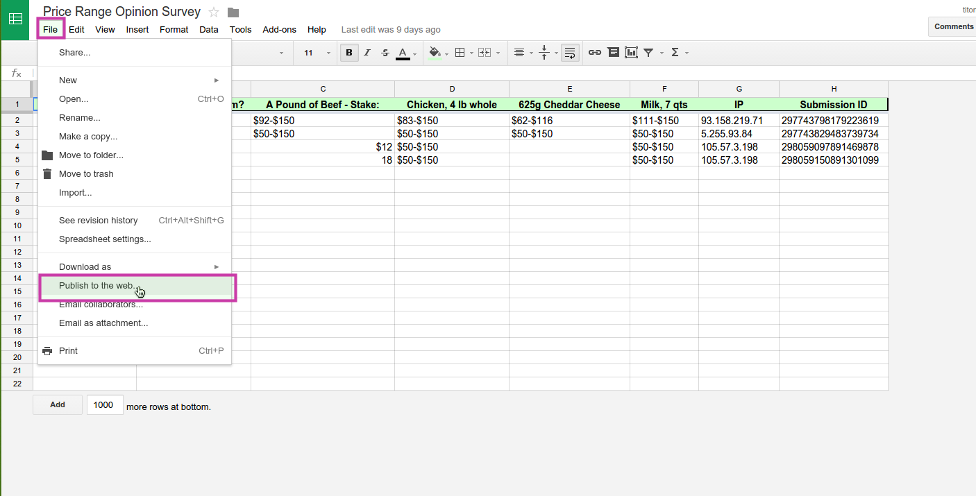 How can i embed a google spreadsheet into my form for Embed a forum into your website