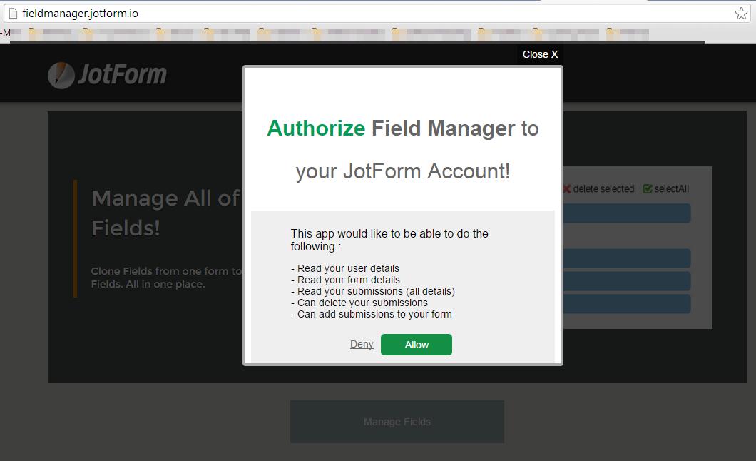 Field Manager App is not working | JotForm
