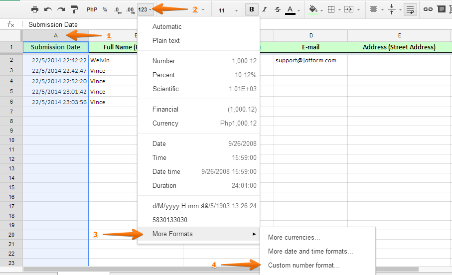 Google Spreadsheet: How to keep Submission Date format as d/M/yyyy ...