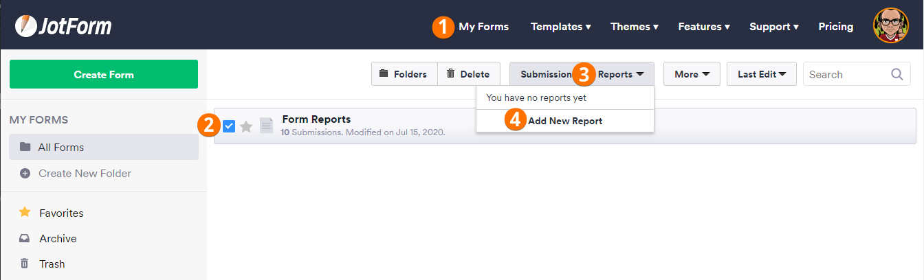 My Forms Reports Menu