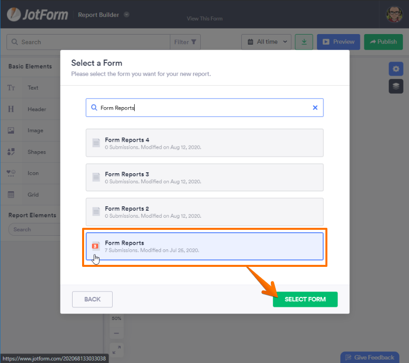 Click Form Create Report