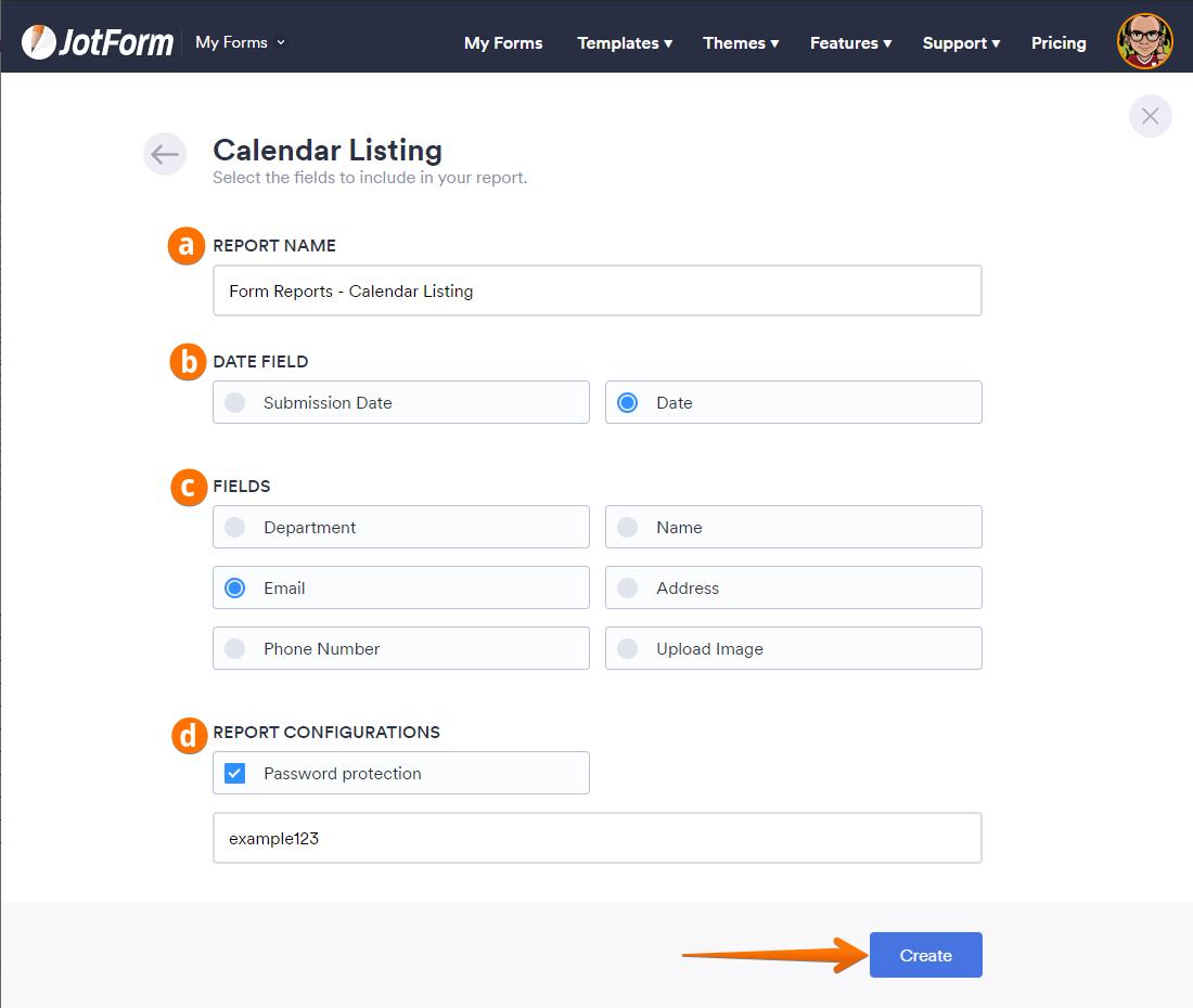 Create Calendar Report Select Fields