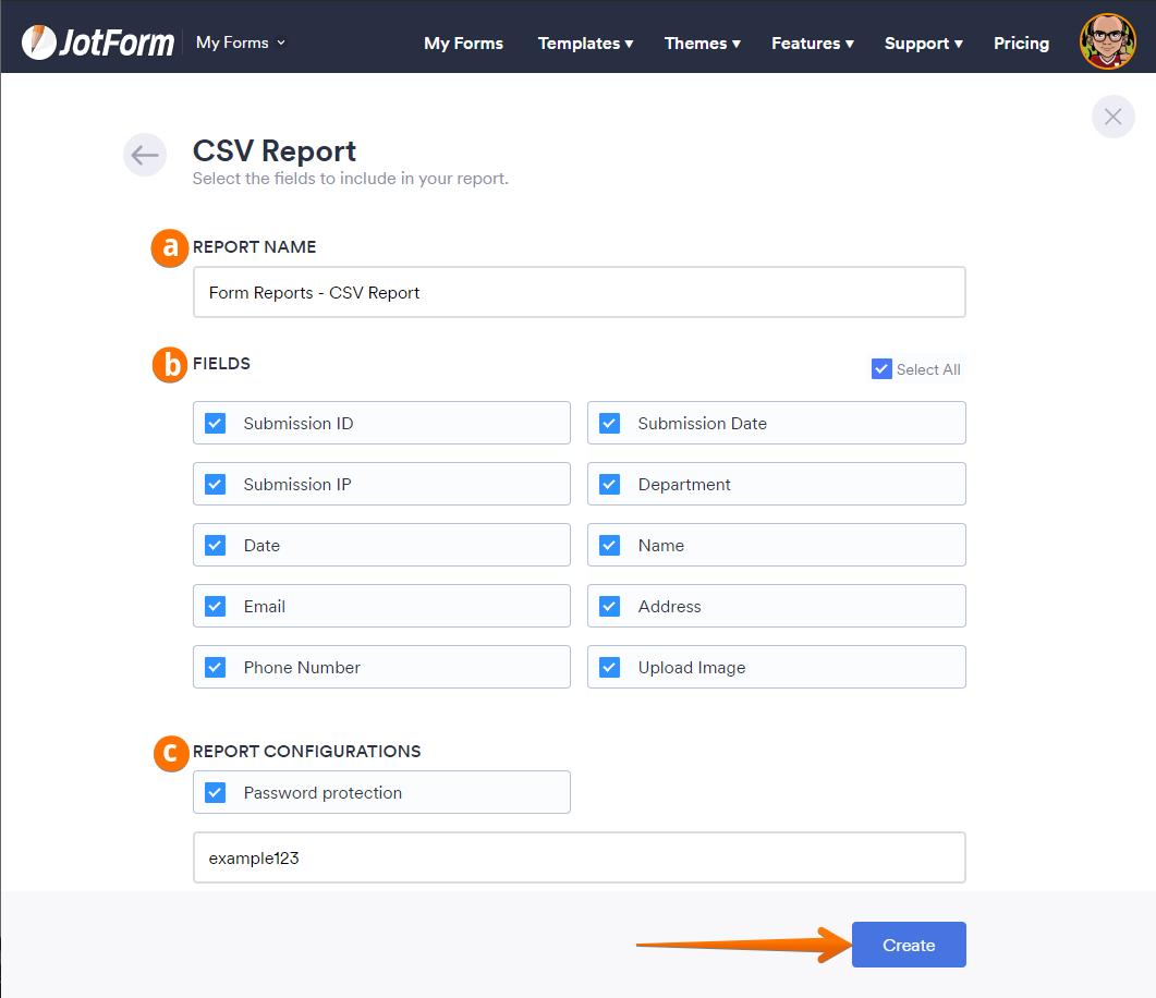Create CSV Report Select Fields