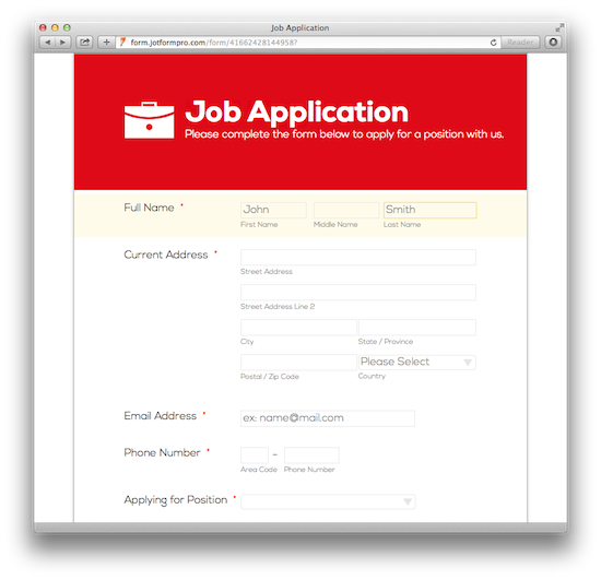 Simple Job Application Form - Red