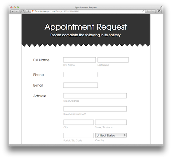Appointment Request Form - White and Responsive