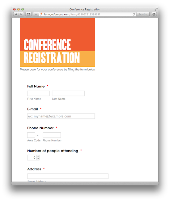 website forms templates