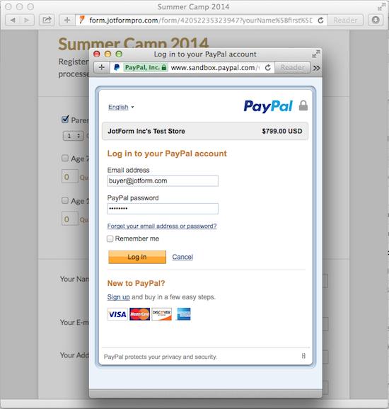PayPal Express Checkout Popup