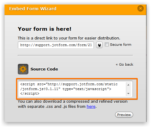 Source code in embed form wizard