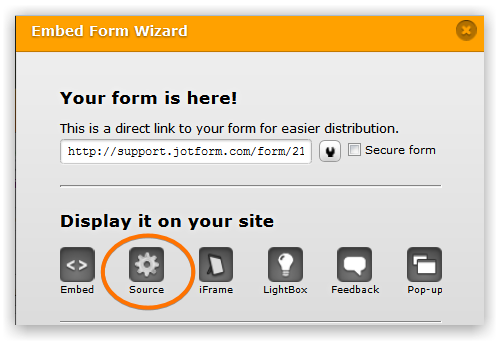 Source option on Embed Form Wizard