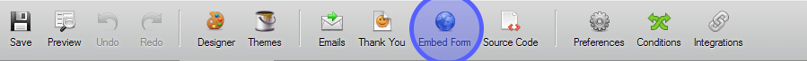 Embed form button on a toolbar