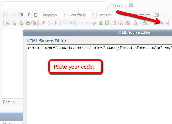 Paste JotForm code