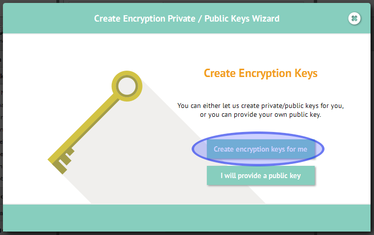 Create encryption keys