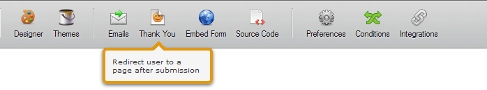 Thank you button in toolbar
