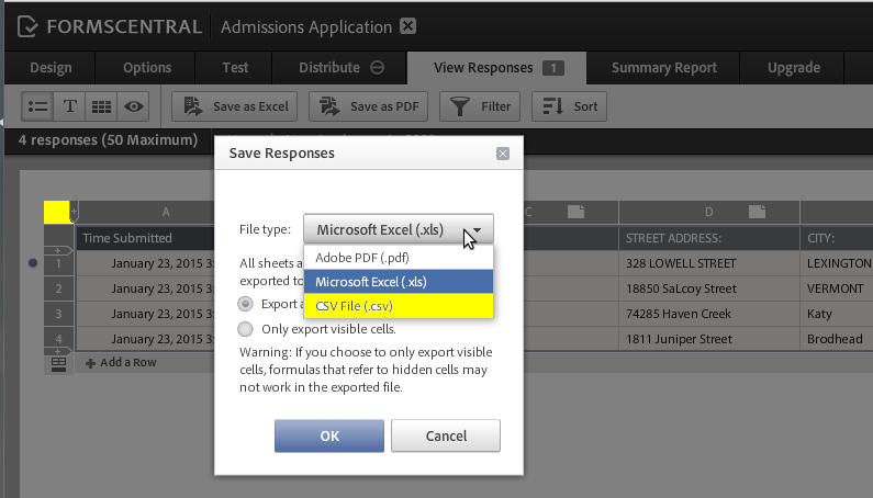 Adobe FormsCentral Export as CSV