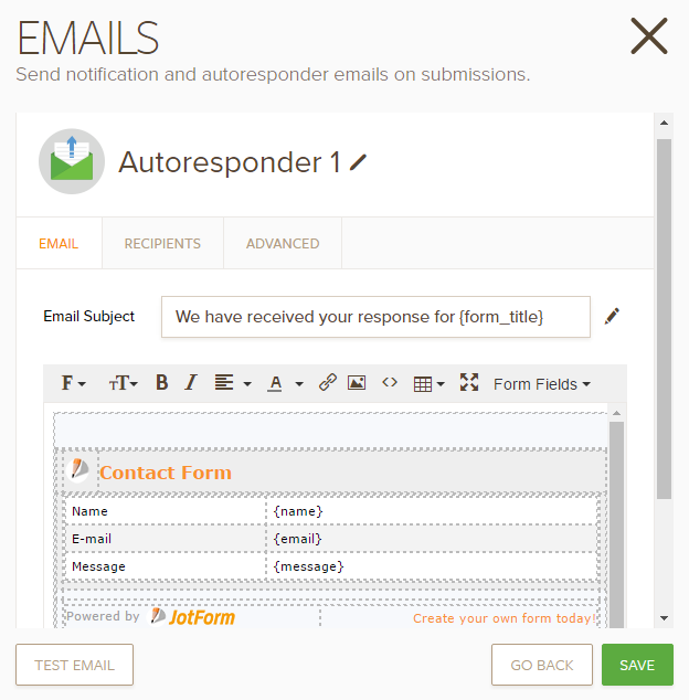 Explanation of Email Notification and Autoresponder Settings | JotForm