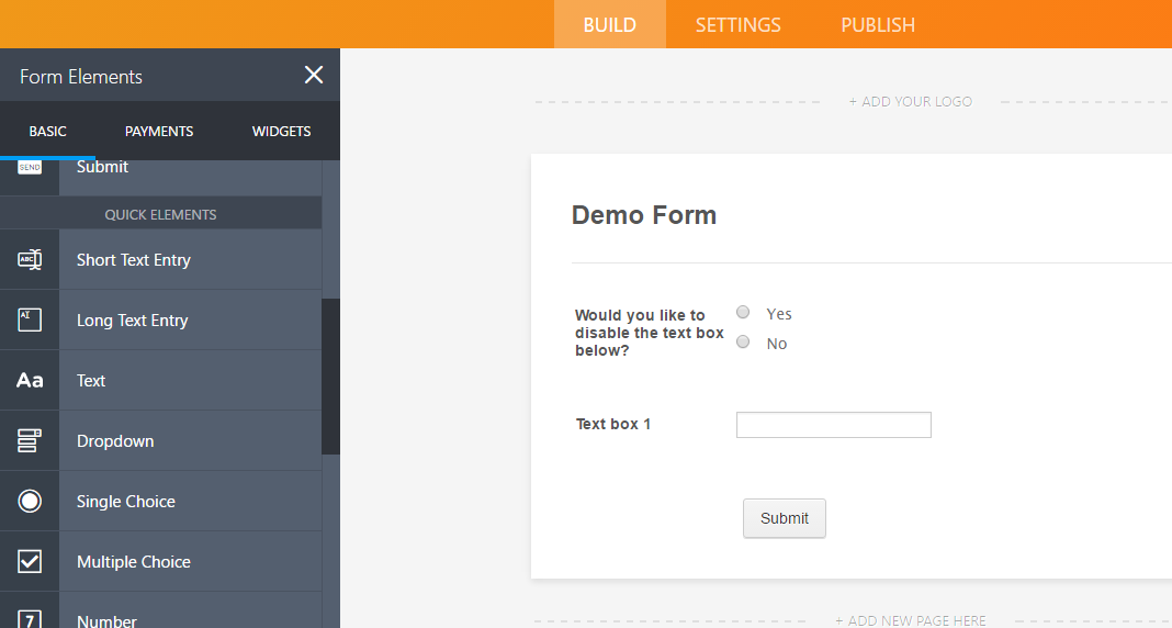 How to Enable/Disable Fields Using Conditional Logic | JotForm