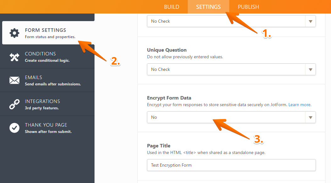 Encryption Form Settings Page