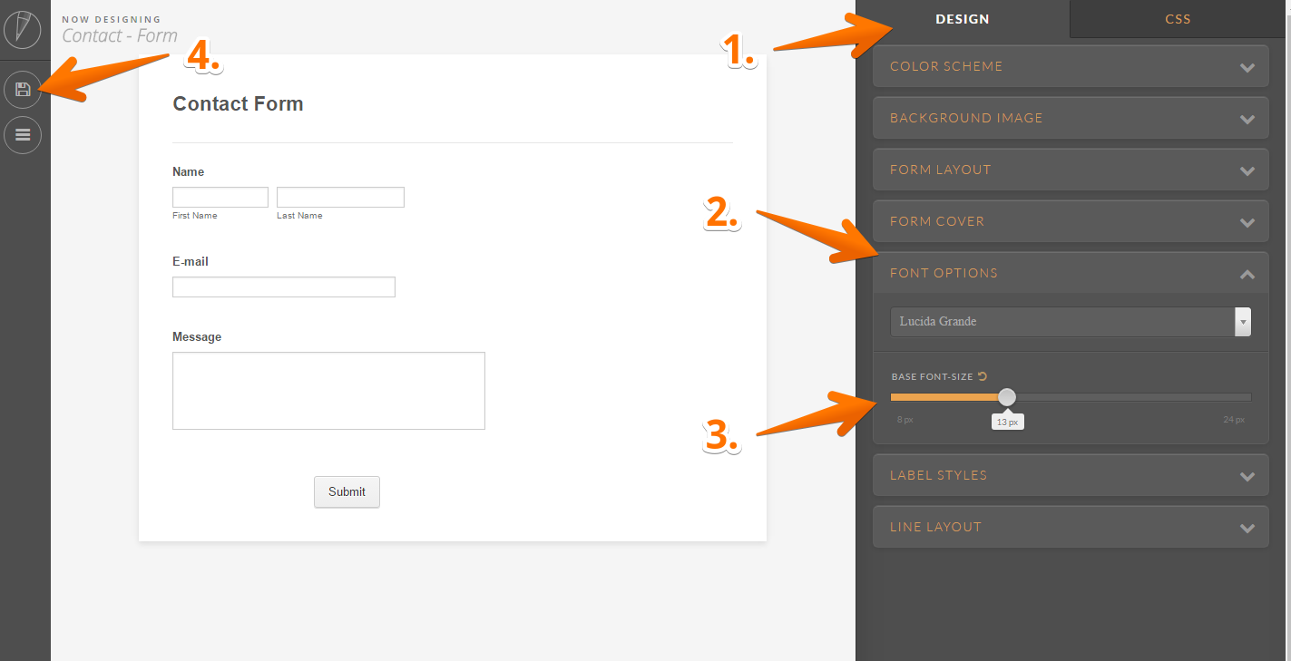 How to change your forms font size jotform the advanced designer tool allows you ccuart Image collections