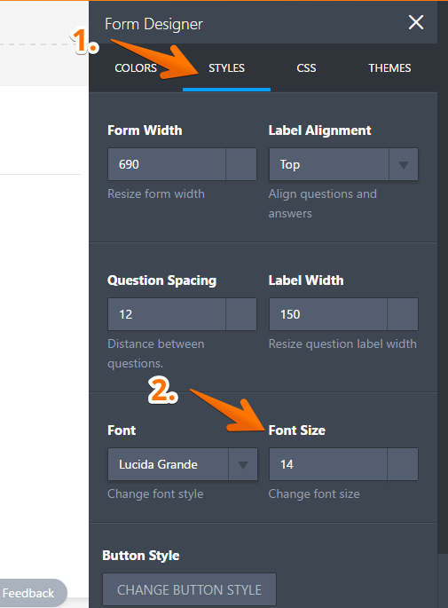 How to change your forms font size jotform step opening the advanced form designer tool ccuart Image collections