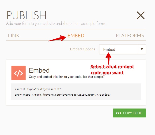 How to get the embed codes jotform for Embed a forum into your website