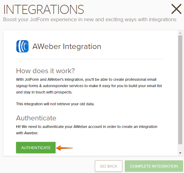 How to Integrate JotForm with Aweber