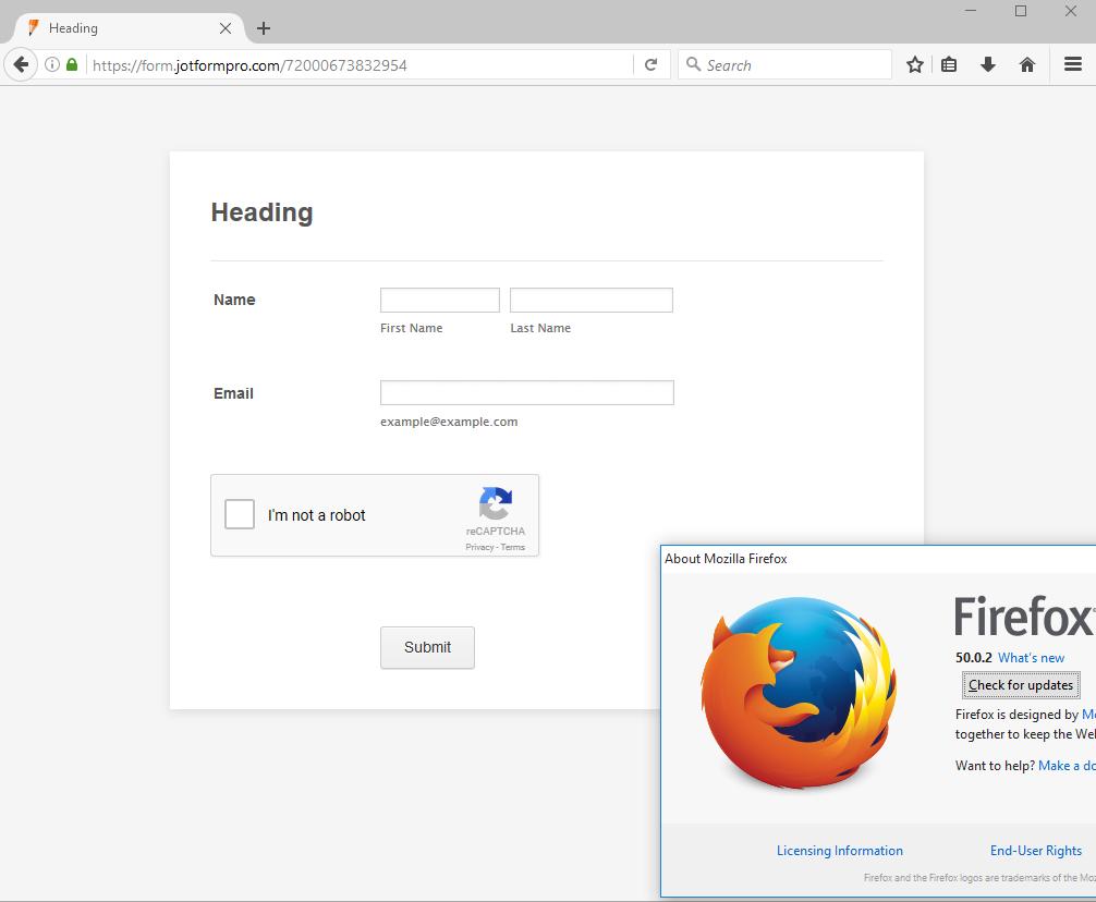Google reCaptcha plugin not working in Firefox