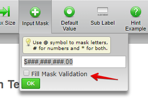 Enable/Disable Input Mask Validation on Text Box Fields