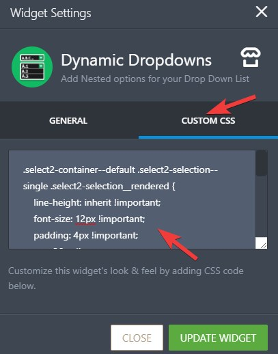 Customize the Dynamic Dropdown Widget to fit on my form style