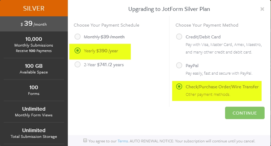 Wire Transfer From Card | How To Upgrade And Pay By Wire Transfer Jotform