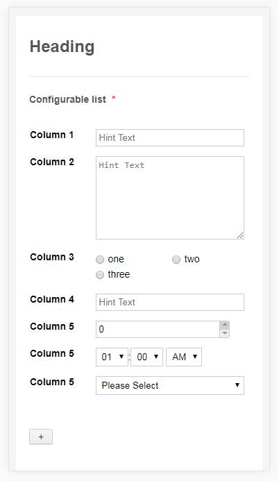 Configurable List Mobile Responsive