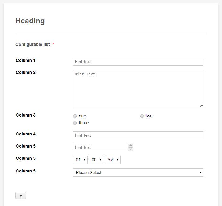 Configurable List Responsive