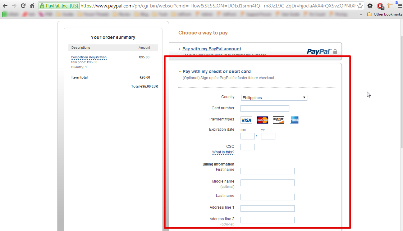 pay with credit card without creating a paypal account
