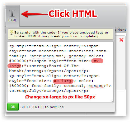 How to change free text (html) text size. | JotForm