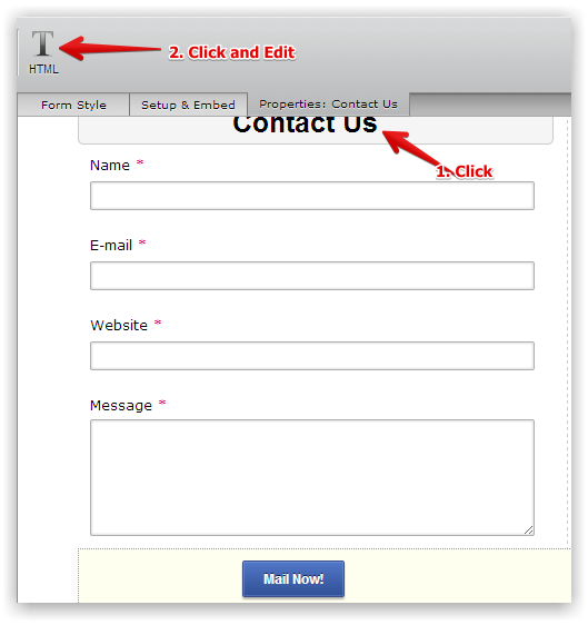 contact form template issue jotform