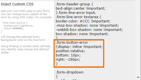 How to align error message below the pagebreak button? | JotForm
