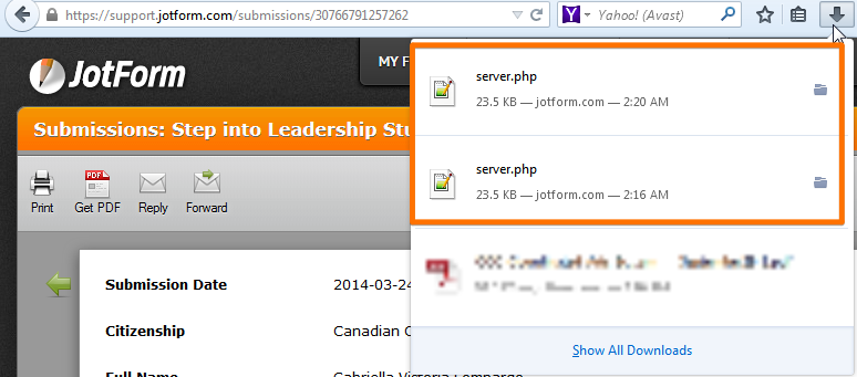 pdf files downloading corrupted php