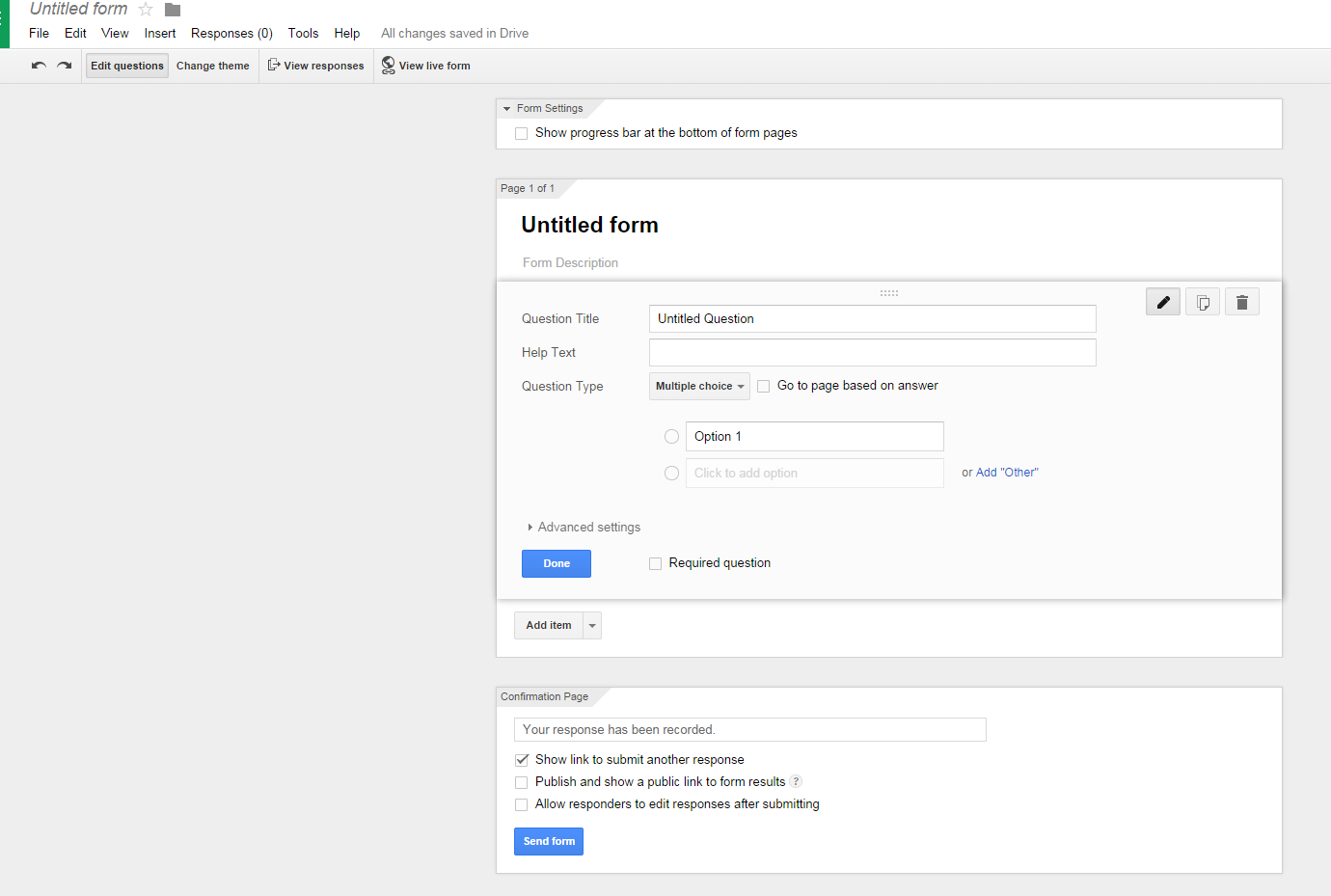 I would like to create a form from within google drive using the ...