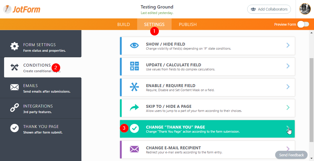 how to create a custom thank you page in mailchimp