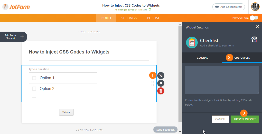 How to Inject CSS Codes to Widgets