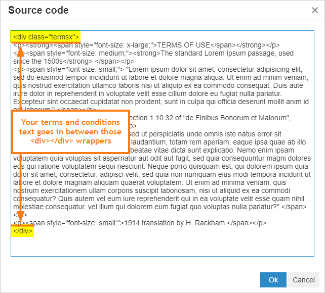 Creating a Scrollable Terms and Conditions