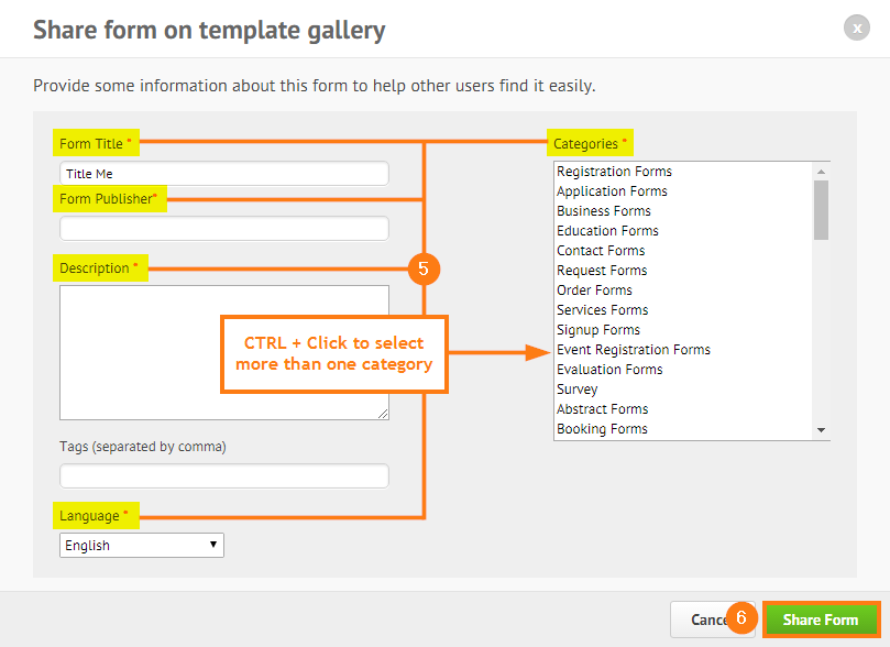 sharing a form in the form templates gallery jotform