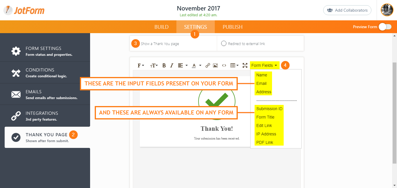 How to Insert Form Fields to the Thank You Page