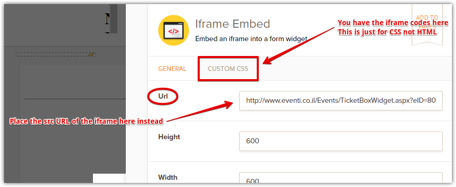 iFrame Embed Widget throws a 404 error