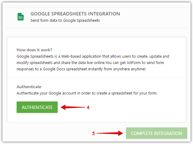 click google spreadsheet then authenticate