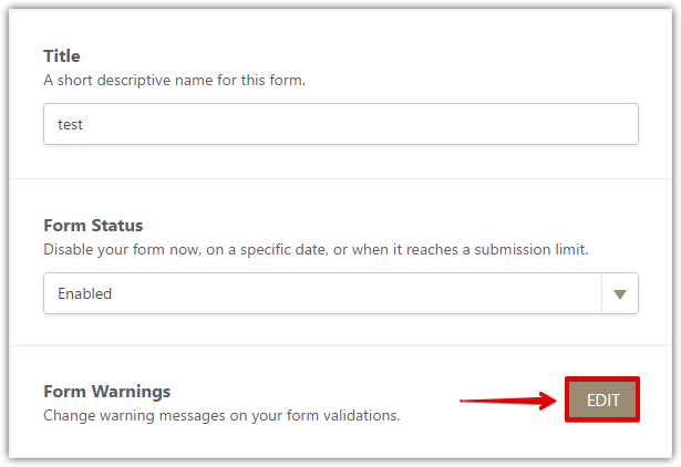 how to change form warnings jotform