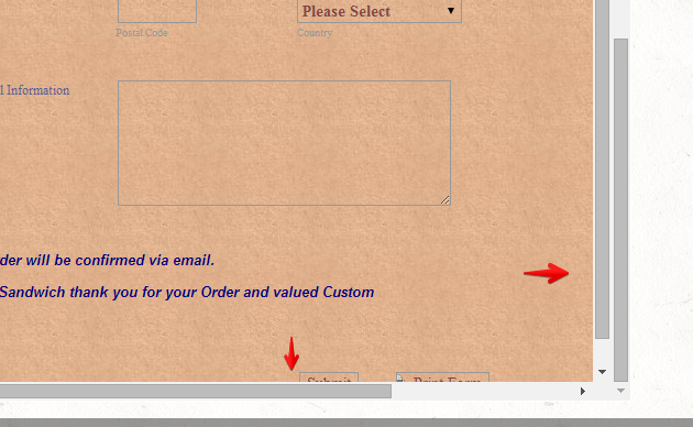 Unable to scroll down on the form on the website when using